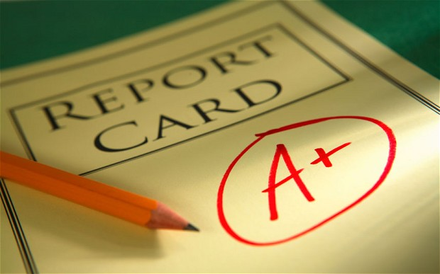 Understanding school reports - Image of report card with A+